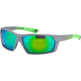 UVEX Sportstyle 225 Glasses, grey / neon green/mirror green